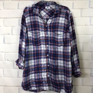 Old Navy Plaid Shirt XL Blue Red Pockets Buttons